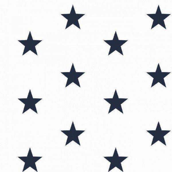 Baumwolle Design Stars - col. 102 weiß/navy