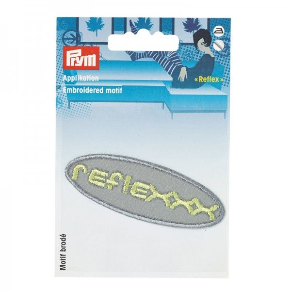 Applikation Reflex Oval - silber/neon-gelb, 2,5 x 7,5 cm